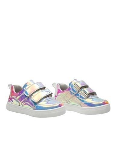 Kids A More Bonita Parlak Helogram Ayna Çift Cırtlı Kız Çocuk Ayakkabı  Gümüş